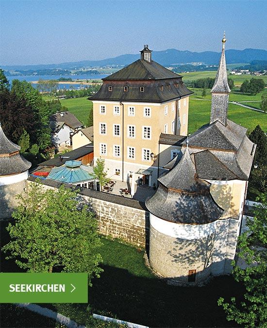 Eine malerische Burg mit See im Hintergrund, Hochschulzentrum Uni Seeburg