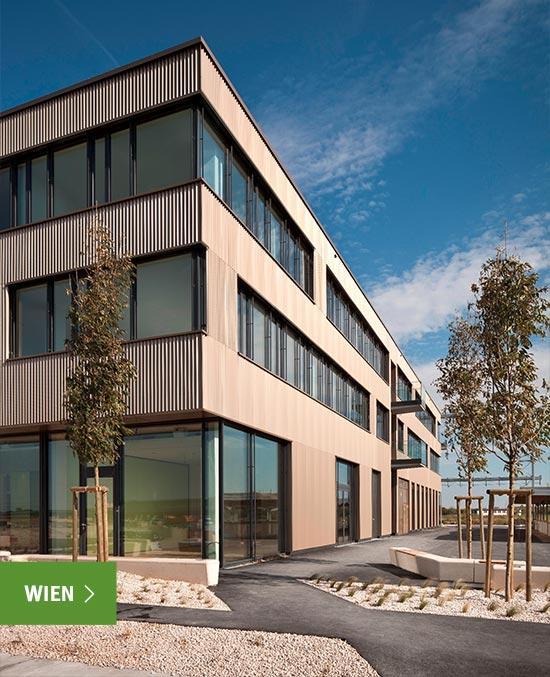 Modernes Gebäude Außenansicht, Hochschulzentrum Wien Seestadt